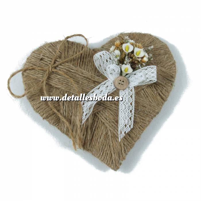 Imagen Cestas y Cojines Porta alianzas corazon flores campanilla ARTESANAL