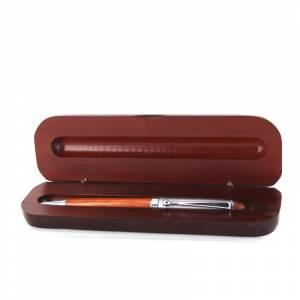 Boligrafos - Bolígrafo imitacion madera Cerezo y Plata con caja madera Caoba (Últimas Unidades)