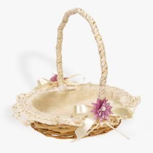 Cestas y Cojines - Cestita Arras Beige con flor violeta