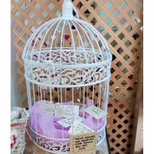 Decoración para fiestas - Jaula de los buenos deseos con tarjetas y cesta