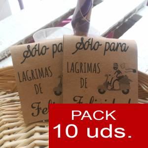 Detalles para la ceremonia - Pañuelos PACK DE 10 - (Plegado kraft) Sólo para lágrimas de felicidad