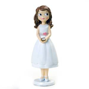 Figuras de Comunión - Figura Tarta Comunión Niña con vestido corto y biblia 16.5cm