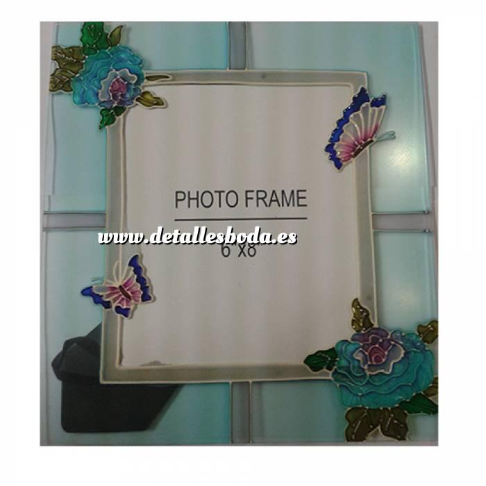 Imagen Marcos y decoración Marco de Fotos Cristal decorado con flores y mariposas 15x20 cms (Últimas Unidades)