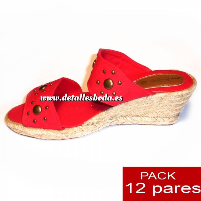 Imagen Mujer Plataforma o Tacón Valenciana tacón Abierta Roja con Remaches - caja de 12 pares Y104511 (Últimas Unidades)