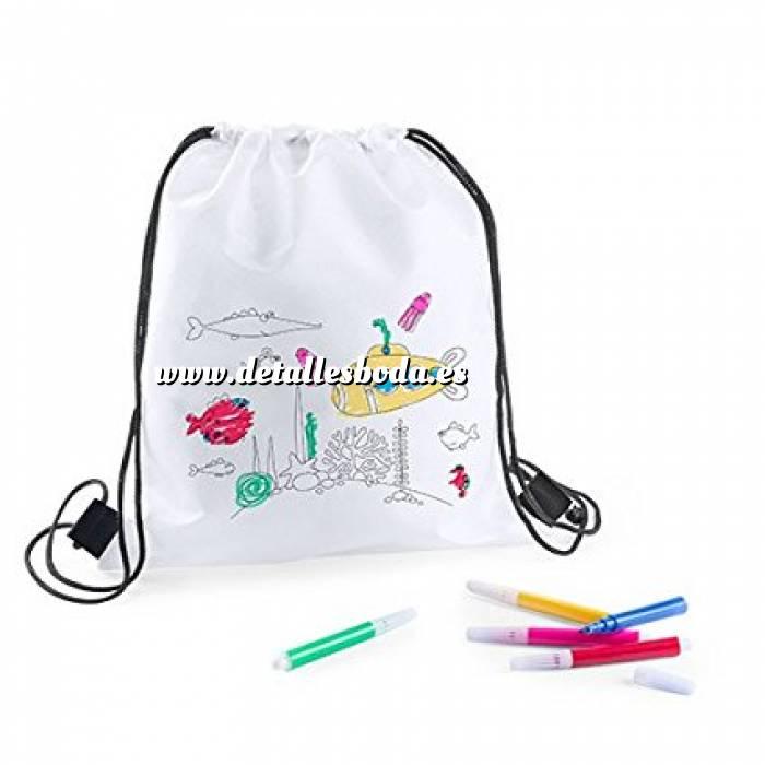 Imagen Niños Mochila niños con lapices para colorear