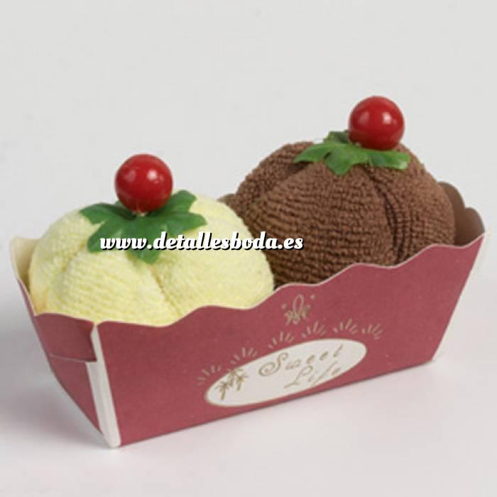 Imagen Prácticos mujer 2 toallitas forma de helado vainilla y chocolate