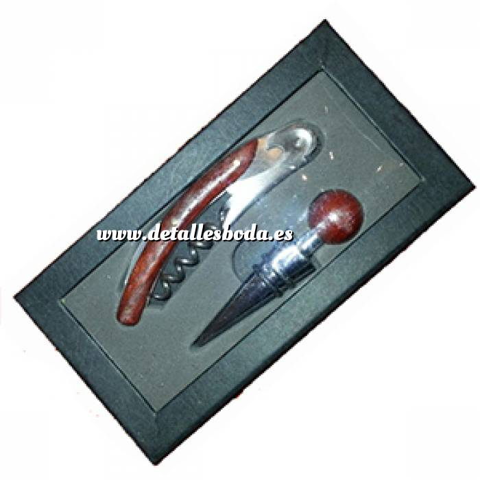 Imagen Set de vino Set de Vino Metal y Madera en Cajita de Cartón (Últimas Unidades)