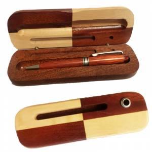 Boligrafos - Bolígrafo imitacion madera Cerezo con caja de madera bicolor