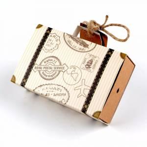 Imagen Cajitas para regalo Cajita Boda viajeros - Maleta de viaje con cuerda y etiqueta incluida