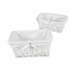 Cestas Regalos - Cesta mimbre recta SIN ASAS color blanco y forro blanco (1 ud)