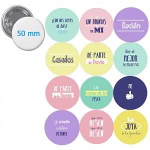 Imagen Chapas 50mm con frases Chapa 50 mm Personalizada con Diseño del Cliente