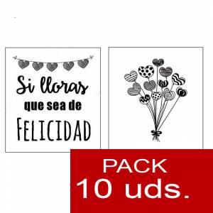 Detalles para la ceremonia - Pañuelos en sobre kraft, con bolsita de celofan PACK DE 10 - Si lloras que sea de felicidad (RAMO DE GLOBOS)