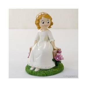 Figuras de Comunión - Figura Pastel comunion niña sentada en un banco
