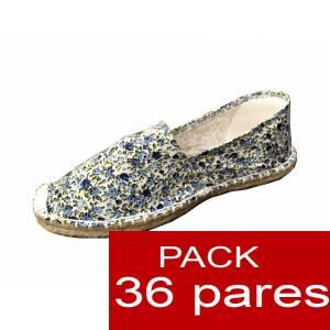 Imagen Mujer Estampadas Alpargata estampada FLORES azules Caja 36 pares (Últimas Unidades)