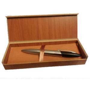 Prácticos mujer - Bolígrafo plateado y negro Mod. 4 en caja de madera
