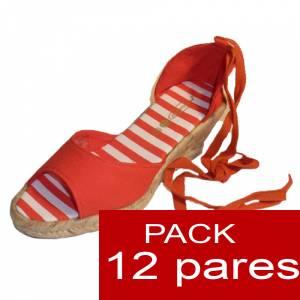 Tac�n Mujer - Valenciana tac�n Abierta Naranja suela rayas - caja de 12 pares Y104316 (�ltimas Unidades)