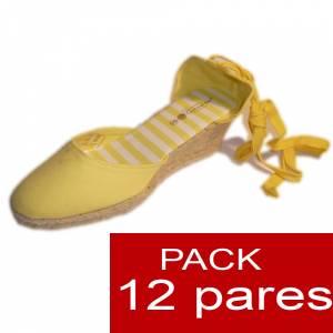 Tac�n Mujer - Valenciana tac�n Cerrada Amarilla suela rayas - caja de 12 pares Y104607 (�ltimas Unidades)